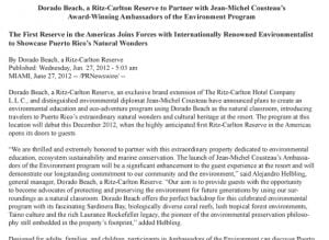 06.27.2012 The First Reserve in the Americas Joins Forces with Internationally Renowned Environmentalist