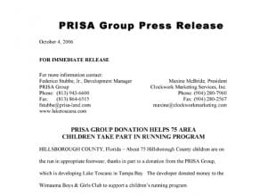 10.4.2006 PRISA GROUP DONATION HELPS 75 AREA